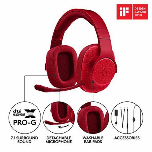 Logitech G433 Headphones Red Detail